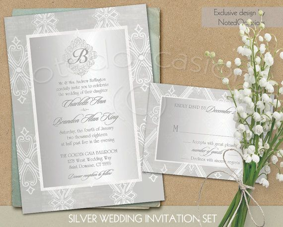 Silver Wedding Invitation Silver Wedding Invitations Suite Template DIY Printable Wedding RSVP Elegant Art Deco Style Gatsby Wedding Suite by NotedOccasions on Etsy