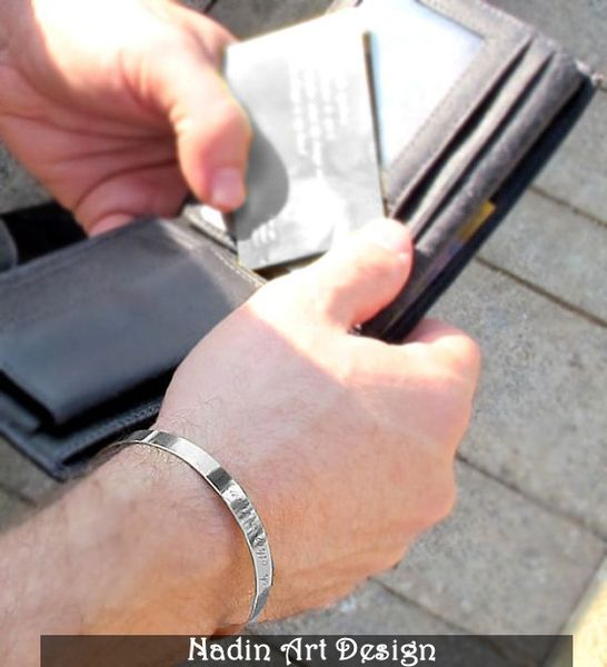 Herrenarmband /Sterling Silber Armband mit Gravur  von NadinArtDesign auf DaWanda.com