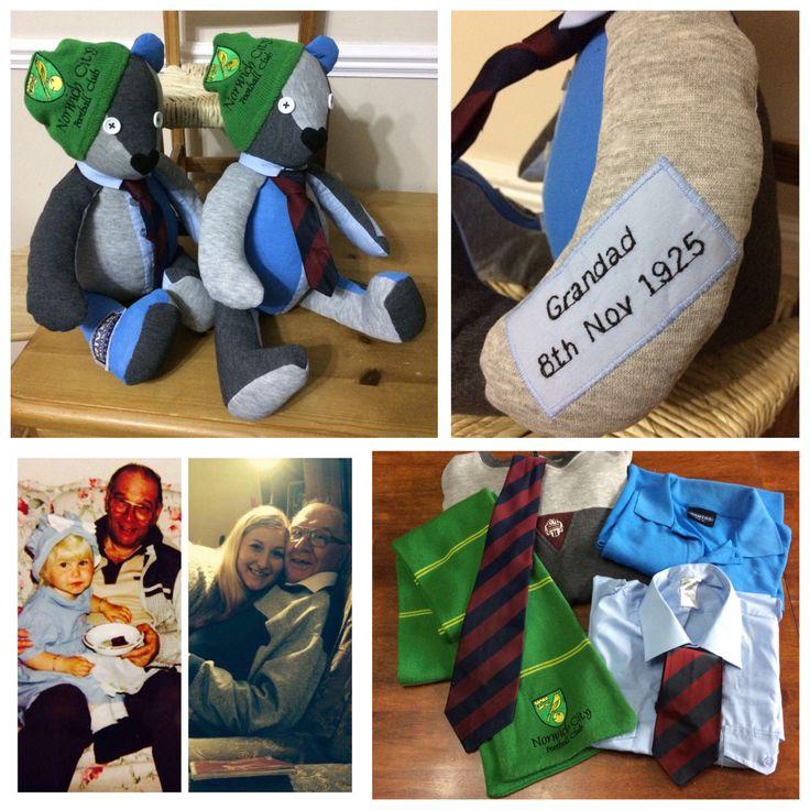 Personalised keepsake sympathy bear https://www.etsy.com/uk/listing/543121404/sympathy-gift-baby-clothes-bear-memory