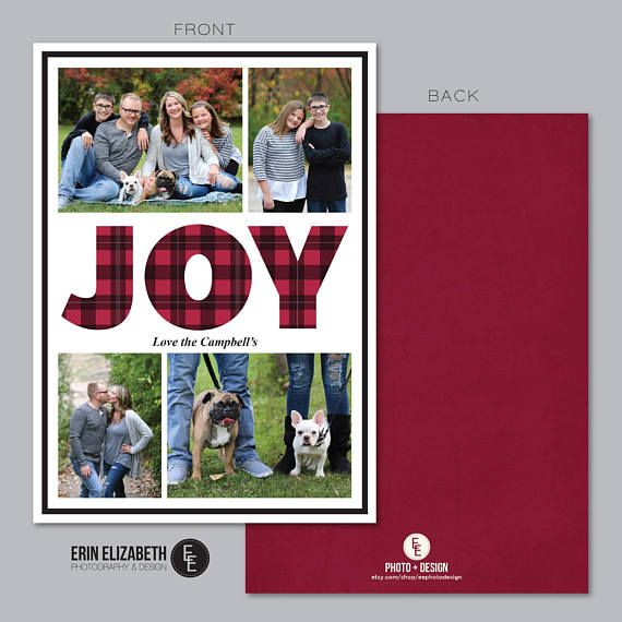 The word JOY says it all!  Send out this perfect custom holiday card this Christmas!  I love the rustic plaid design!  Check out more custom Holiday Card design from EE Photo and Design on Etsy!