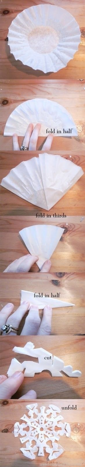 If you need quick decorations, turn a coffee filter into a snowflake! | Party Hacks For The Holidays