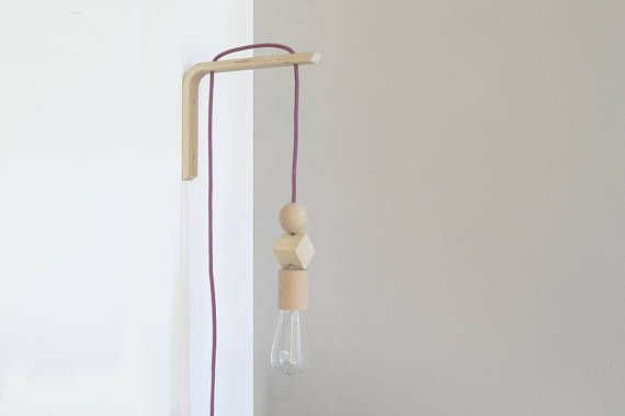 Handmade Wooden Lamp Hook With A Colored Fabric Cable Wall Lamp Wooden Wall Sconce Hanging Light Minimal Wall Lights Bedside Lamp Wooden Lamp Lamp Handmade Wooden