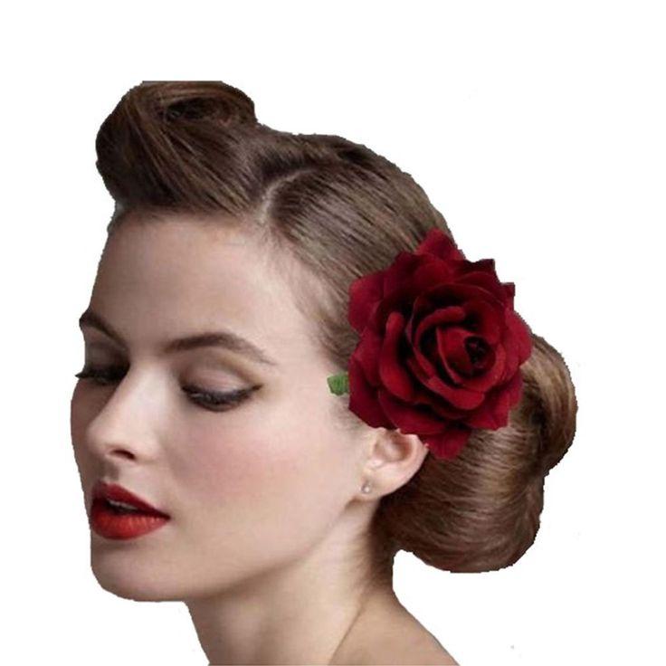 1 STKS Stof Blooming Rose Bloem vrouw Haar Decoraties & Broche wedding party Haar Clip Bruids Haar Bloem Studio
