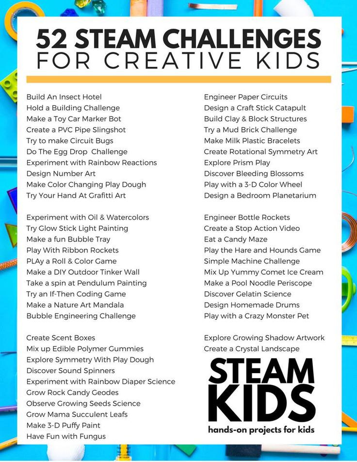 52 STEAM Challenges for Creative Kids! Your kids are always tinkering, love science and thrive on building new things...but they are bored way too often. AD