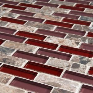 Photographic Gallery Merola Tile Tessera Subway Bordeaux in x in x mm Glass and Stone Mosaic Tile