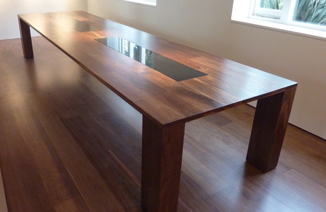 Large Dining Table constructed from American Walnut with a black granite centre. #diningtable #american #glass #interiordesign #modern