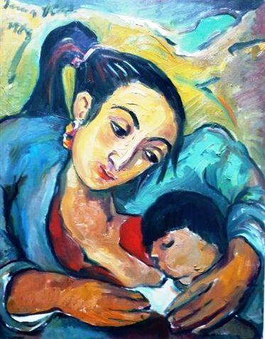 Irma Stern - Mother and Child. Veo a Esteban en esta pintura, tierno e indefenso.