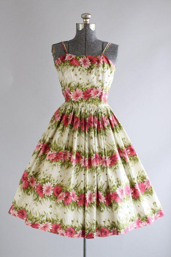 Vintage 1950s Dress / 50s Cotton Dress / Pink Floral Border Print Dress w/ Spaghetti Straps S/M
