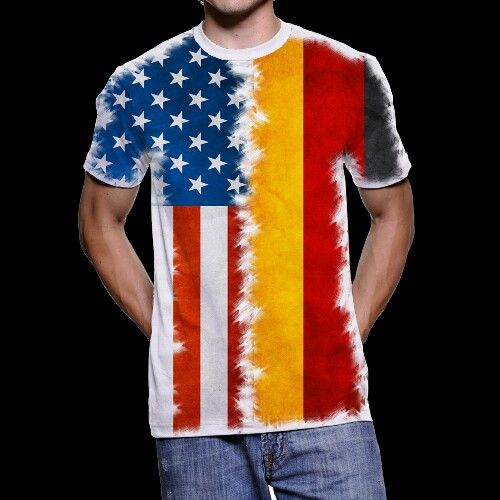 Combo Flagshirt Germany USA T-Shirt for Multinational People