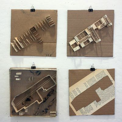 Small Study Models--book pages, chipboard. Based off of memories at site.