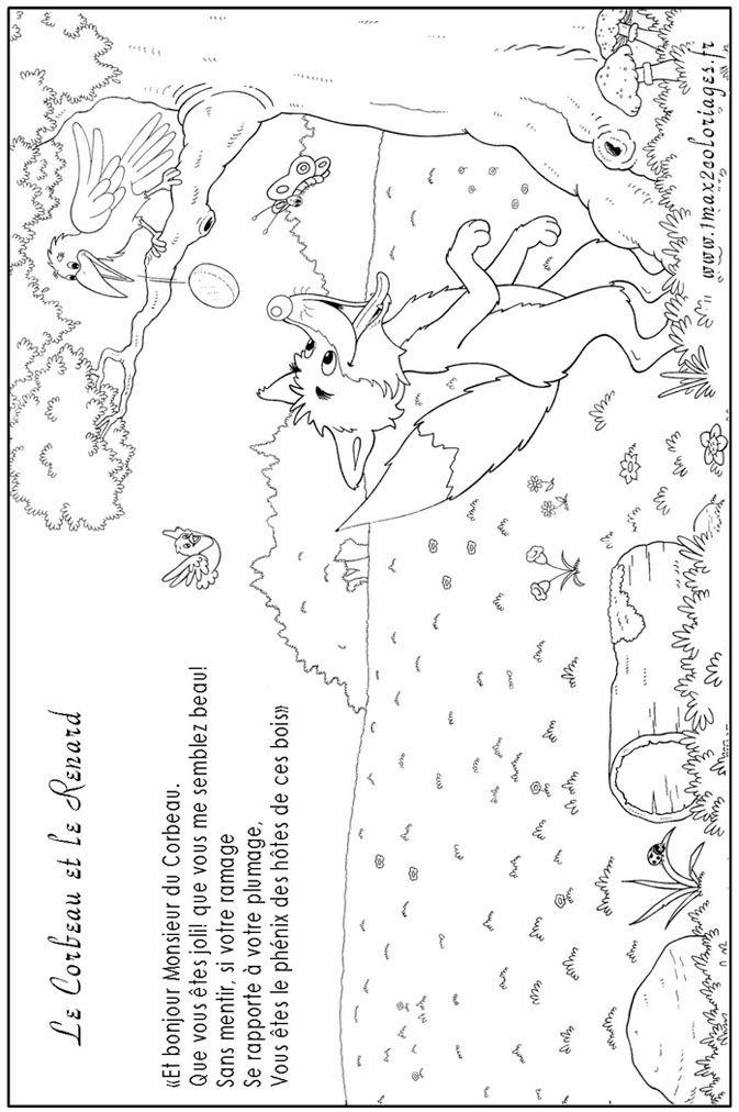 Le corbeau et le renard fle enfants comptines - Coloriage corbeau ...