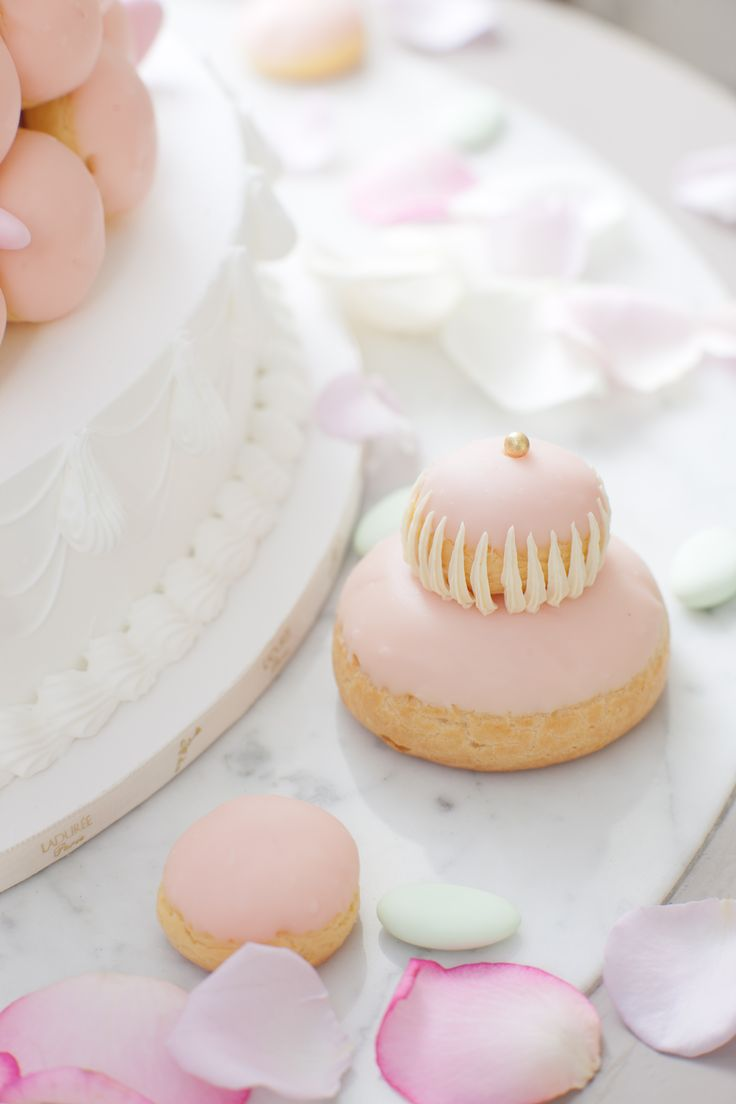 Ladurée - rose-scented pastry in light baby pink.