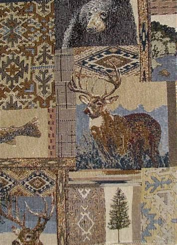 Roosevelt Indigo Scenic Tapestry -  Great Northwoods outdoor scenic tapestry fabric for rustic upholstery fabric or any home décor fabric project.