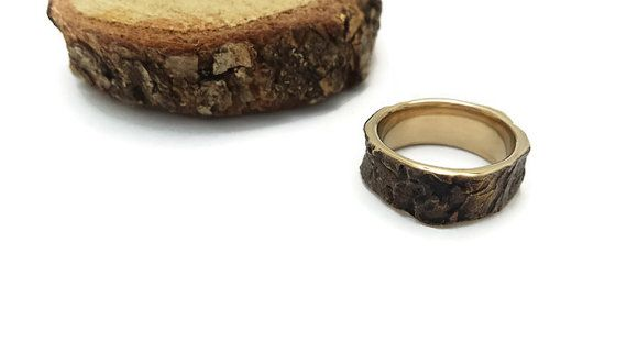 Bark ring Oak Tree Bark Jewelry Bronze ring Woodland by Brelokz