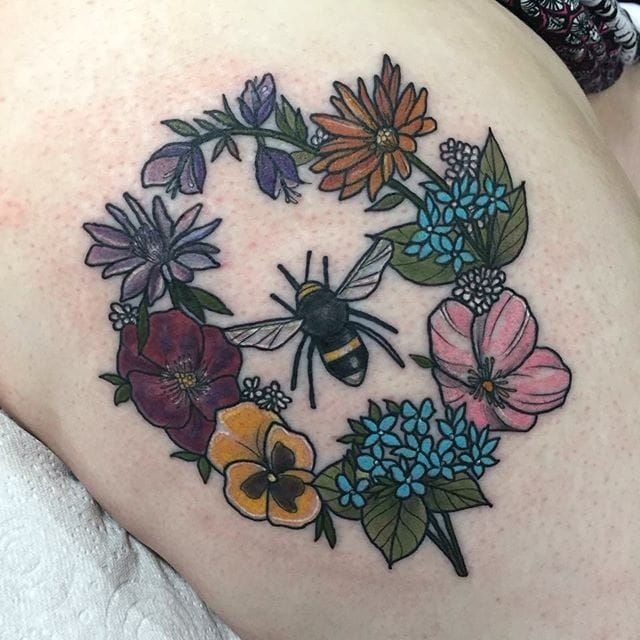 Neo conventional floral wreath and bee tattoo by Lydia Hazelton. #neotraditional.... ** See more at the photo link