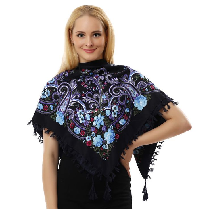 Autumn Winter Fashion Ladies Tassels Big Square Scarf Floral