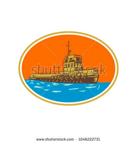 Retro woodcut style illustration of tug, tugboat or towboat, a type of marine vessel that maneuvers other ship or boat by pushing pulling by direct contact or by tow line set inside oval shape.  #tugboat #woodcut #illustration
