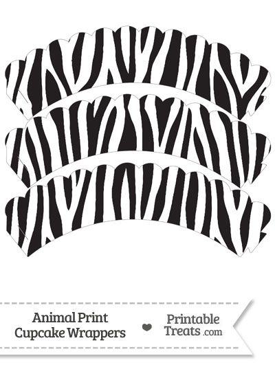 Zebra Print Scalloped Cupcake Wrappers from PrintableTreats.com