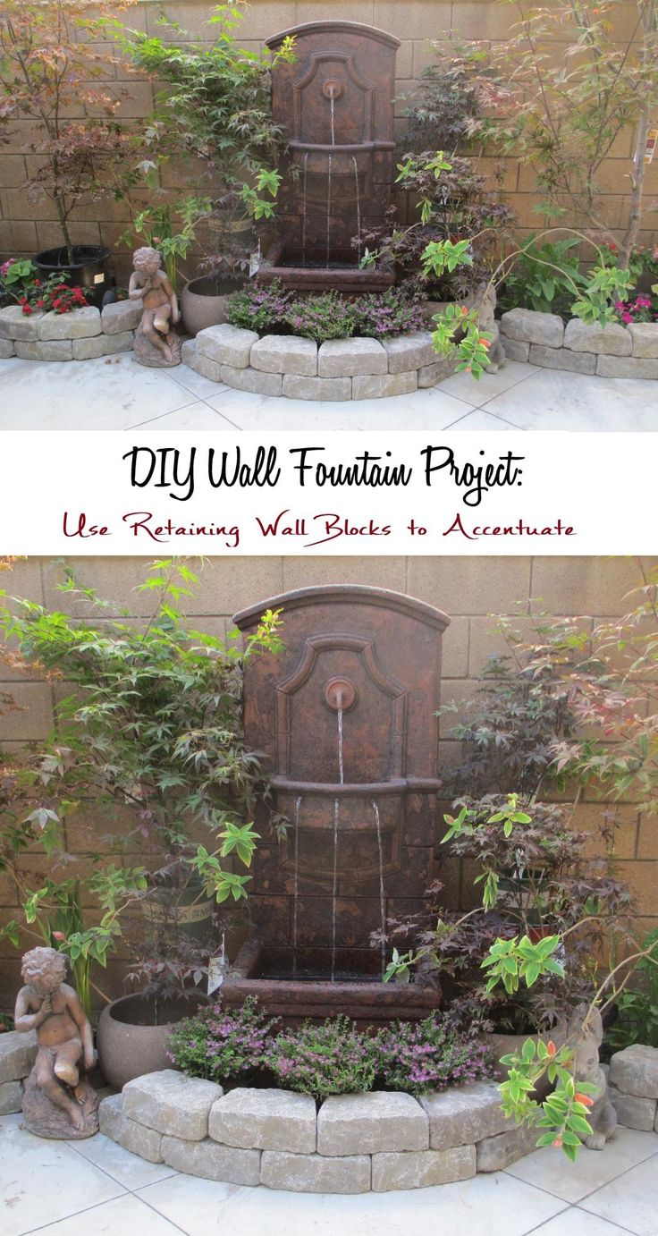 Diy water feature wall - Japanese Maples Courtyard Garden With Wall Fountain Diy Wall Fountain Project With Retaining Wall Blocks