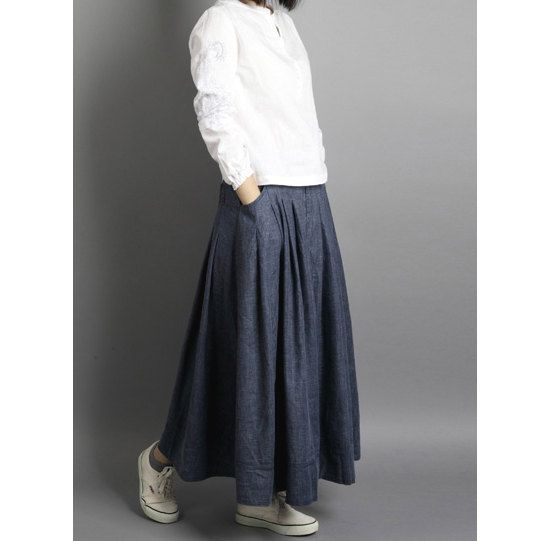 Cotton & Linen Denim blue long skirt / Maxi skirt / by kunniestore, $55.99