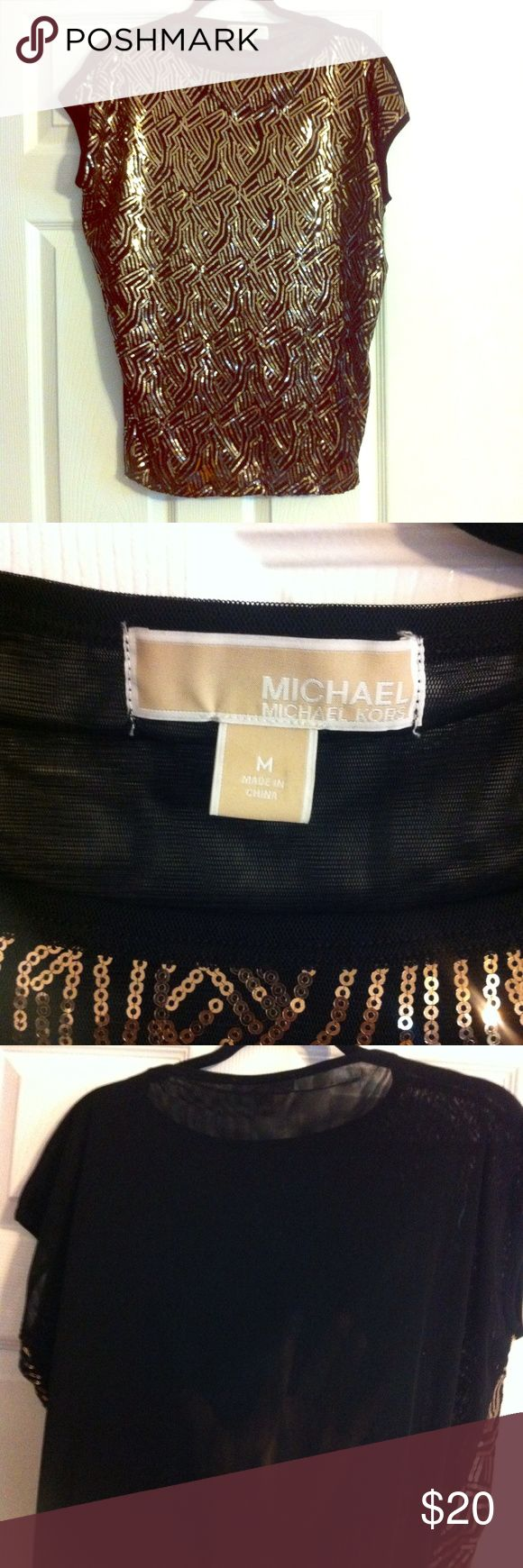 Sparkle in gold Michael Kors Gold sequin sheer back Michael Kors party top. Sequins are all in tack, no loose threads. Like new. Only worn once. Michael Kors Tops Blouses