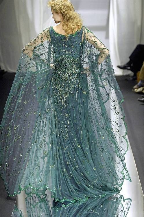 Zuhair Murad Haute Couture - 2007 Dusty Emerald+Gold Sequins, Chaffon