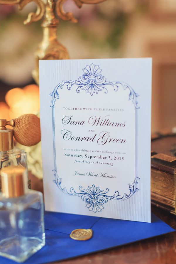sample wedding invitation letter for uk visa%0A white and blue invitation  Victorian Era Indoor Wedding Inspiration  u      KnotsVilla