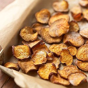 Sweet-Potato Chips Thinly slice sweet potatoes and toss in oil and a dash of cinnamon.  Bake at 400 F until crispy.