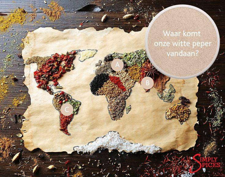 Enig idee waar onze witte peper vandaan komt? Kies A, B of C!