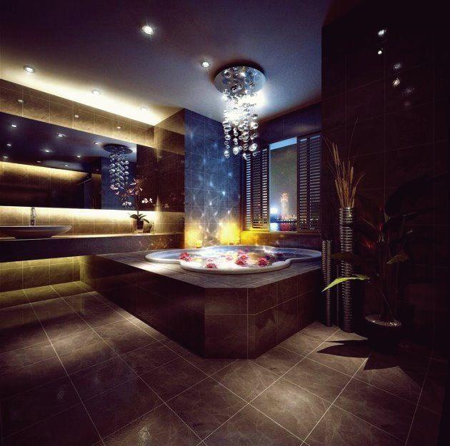 Traumbad With Marble And Round White Bathtub Bathroom Ideas Luxus Badezimmer Badezimmer Design Luxusbadezimmer