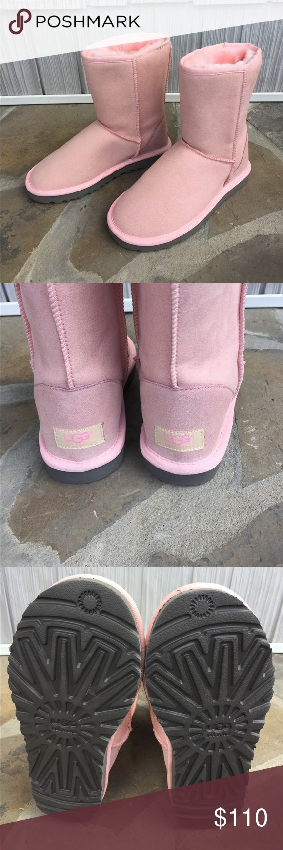 UGG Boots Everyone needs a pair of pink UGGS and these are spectacular!  Leather uppers and pink sheepskin lining. Like new except for small speck on left boot. Shown in photo. Size 7 UGG Shoes Winter & Rain Boots