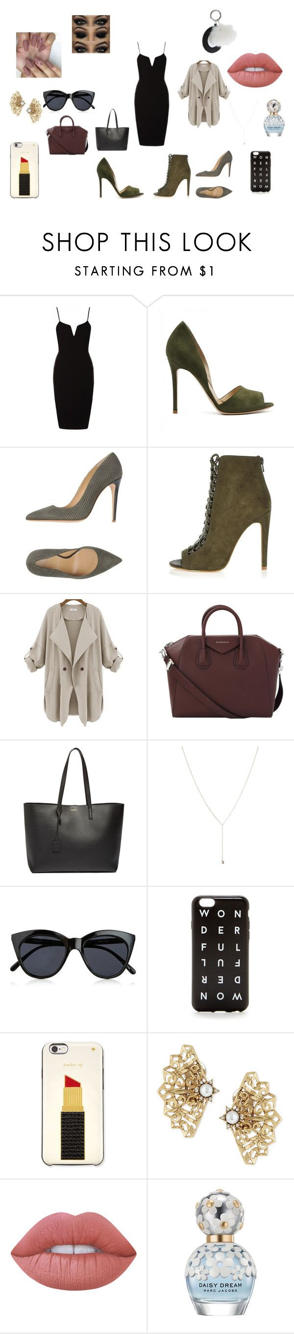 """Untitled #106"" by rosesanders on Polyvore featuring Armani Collezioni, River Island, Givenchy, Yves Saint Laurent, Le Specs, J.Crew, Kate Spade, Oscar de la Renta, Lime Crime and Marc Jacobs"