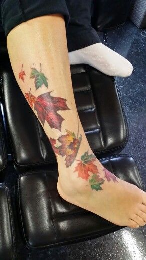 I not a fan of typical flower tattoos. I am Canadian and love fall colours so I had my nephew Chad design something custom for me. Tattoo by Inkternal Custom Tattoos in Port Elgin.