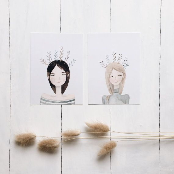 #girls #friends #illustration #watercolor #cute #vickyod #postcard