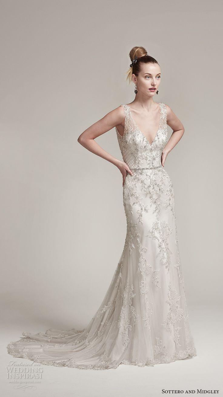 sottero midgley fall 2016 bridal sleeveless thick strap v neck heavily embellished bodice elegant sheath wedding dress v back sweep train (ronnie) mv