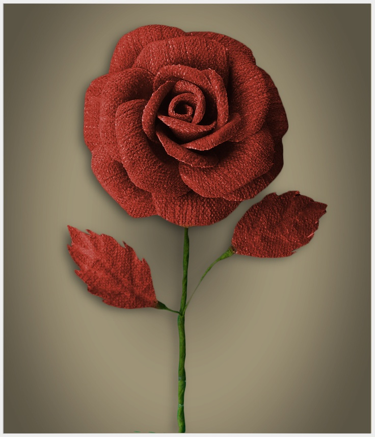 A HandMade Red Rose from Fabric