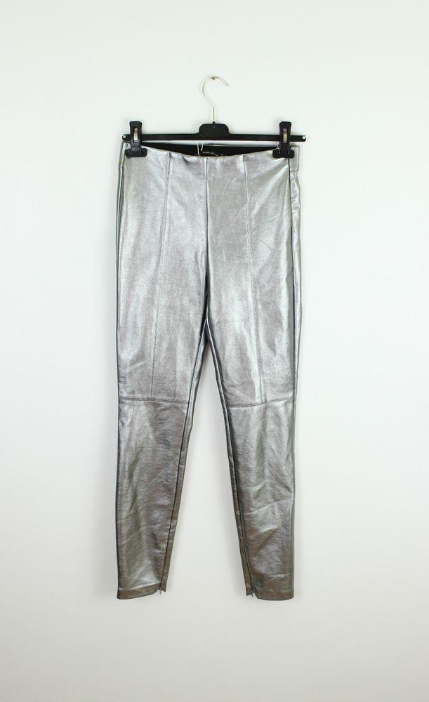01bec2ee ZARA faux leather women skinny pants silver trousers size S UK 8 #Zara