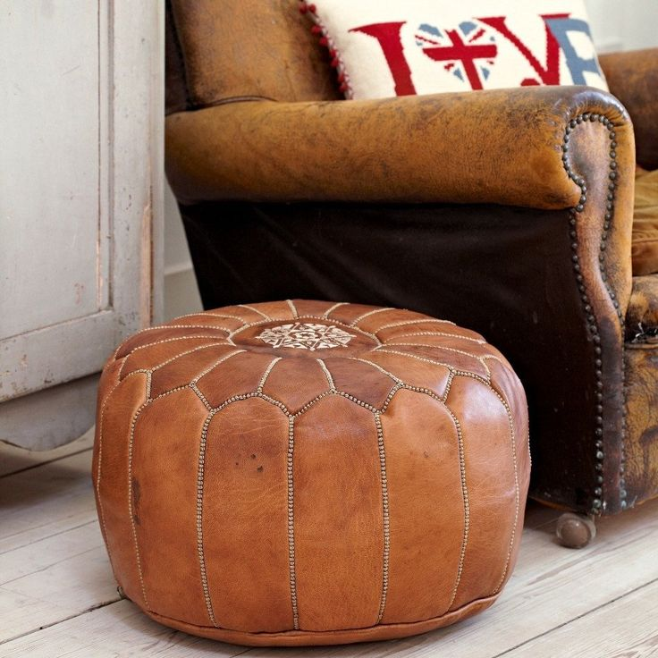 tan brown moroccan leather pouf for gifts - Brown Leather Ottoman