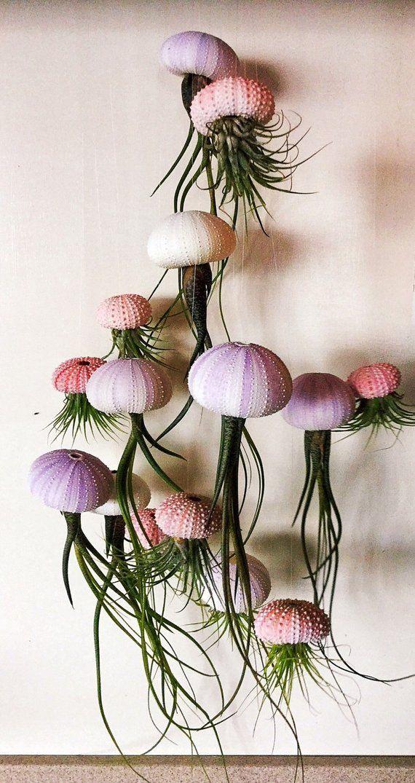 Suspension trois méduses Air plantes – violet/blanc Long Butzii Airplants, cadeau pour elle, Airplants à vendre