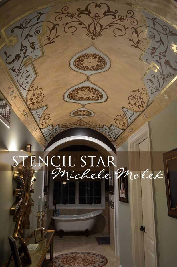 Stenciled barrel ceiling by decorative artist Michele Molek using stencils by Modello Designs by Royal Design Studio via Paint + Pattern