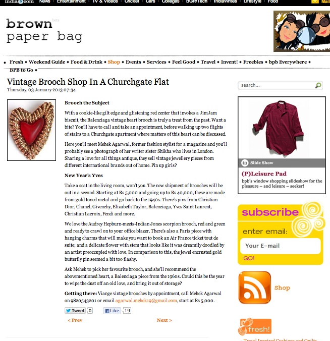 Look who wrote about us ! Viange featured on Brown Paper Bag.   http://bpbweekend.com/shop/buy-vintage-brooches-in-an-apartment