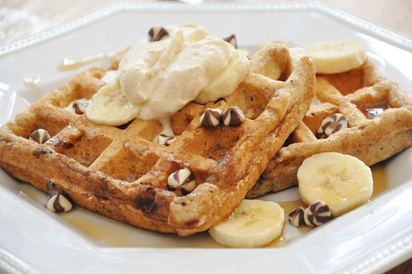 Whole wheat banana chocolate chip waffles with peanut butter whipped ...