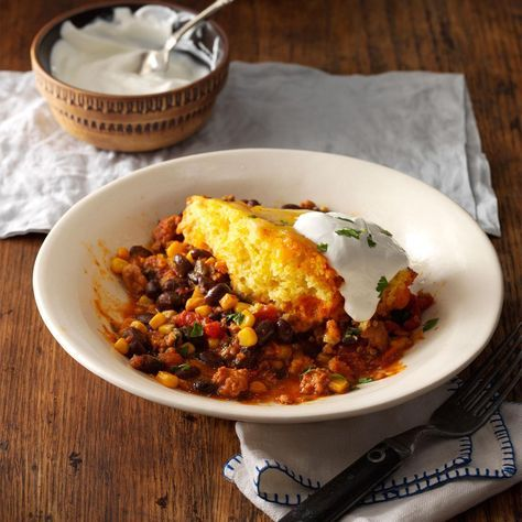 Easy Chicken Tamale Pie Recipe -All you need are some simple ingredients from the pantry to put this slow cooker meal together. I love that I can go fishing while it cooks. —Peter Halferty, Corpus Christi, Texas
