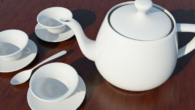 Large preview of 3D Model of porcelain tea set