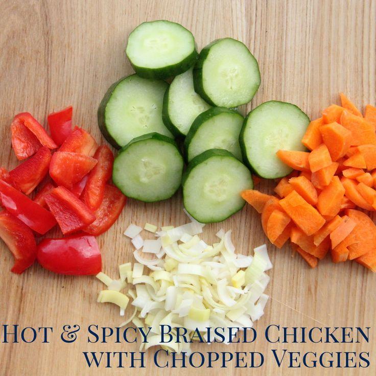 mrazák Crockpot večeře recipe- horké a kořeněné arašídové kuřecí nakrájenou zeleninou s