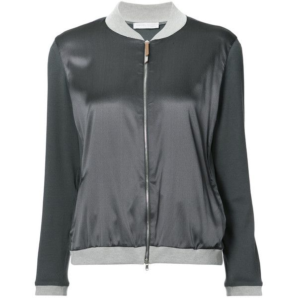 Fabiana Filippi contrast trim bomber jacket ($685) ❤ liked on Polyvore featuring outerwear, jackets, grey, bomber jacket, grey bomber jacket, grey jacket, gray bomber jacket and bomber style jacket