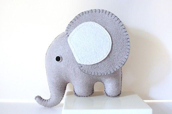 Grey Felt Elephant PDF Pattern $3