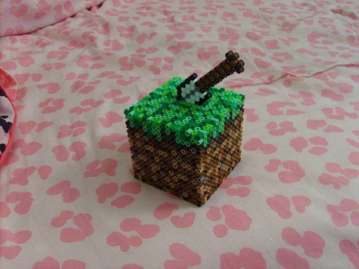 17 best images about minecraft homeschool perler minecraft grass block coin bank perler beads by alittlekajira on