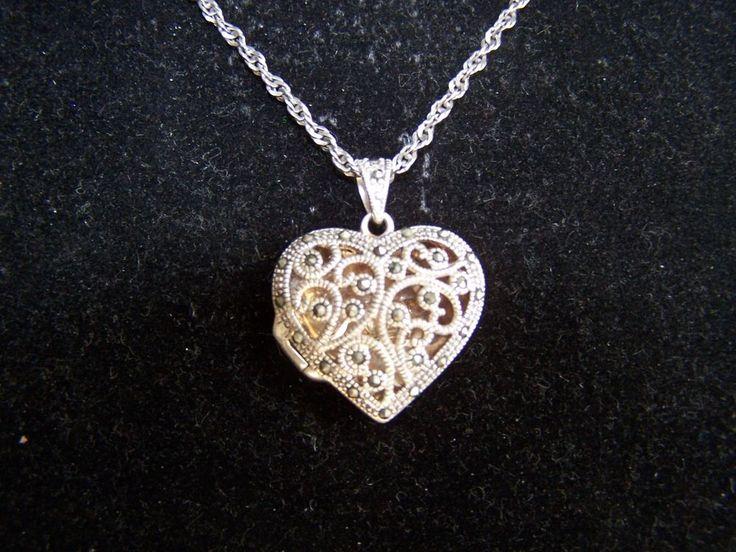 Silpada Sterling Silver Marcasite Heart LOCKET with SS Chain 11.4gr #Silpada