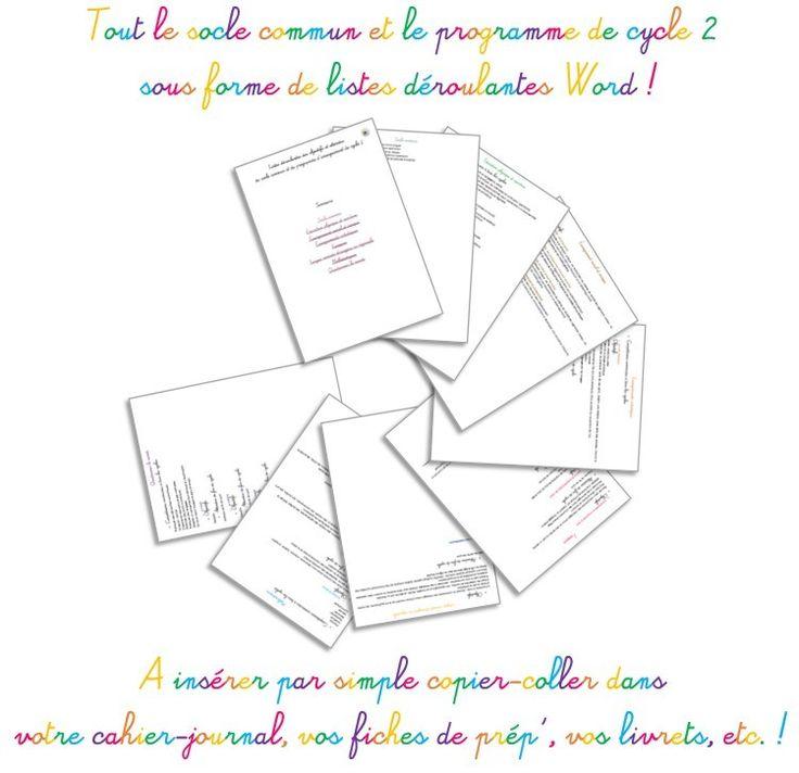Tout le programme de cycle 2 en listes déroulantes Word ! A insérer par simple copier-coller dans tous vos documents ! ^__________^